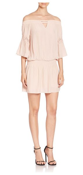 Ramy Brook nicci off-the-shoulder dress in blush - Cutout details and pom pom trims style this dress....