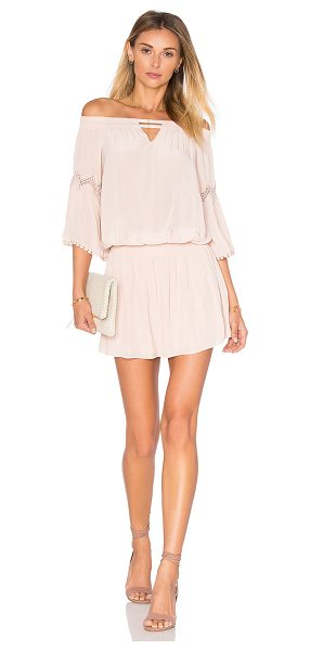 Ramy Brook Nicci Off the Shoulder Dress in blush - 100% poly. Dry clean only. Smocked neckline and waist....