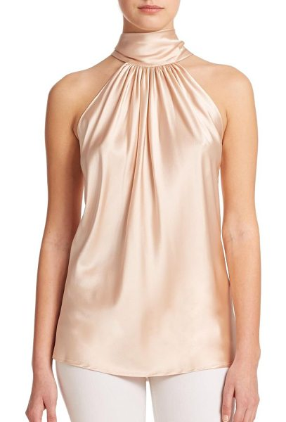 Ramy Brook paige stretch-silk halter blouse in blush