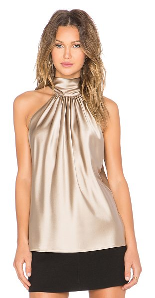 Ramy Brook Paige tie neck tank in taupe - Silk blend. Dry clean only. Neckline tie accent. RAMR-WS3. 1240.