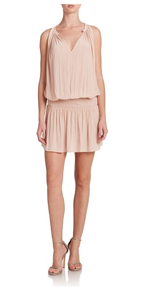 Ramy Brook paris blouson dress in blush - Chic sleeveless dress in a cinched drop waist style....