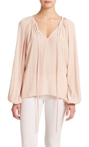 Ramy Brook paris v-neck shirred blouse in blush - Soft pleating blouse on a silky relaxed...