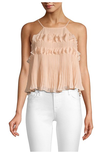 Ramy Brook shauna chiffon sleeveless top in blush - Delicate ruffles and pleats lend ornate textures to this...