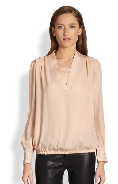 RAMY BROOK Silk pleated-shoulder blouse in blush - This pale, beautifully hued silk blouse is detailed with...