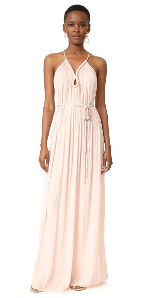 Ramy Brook valentina maxi dress in blush - Ruching accentuates the fluid drape of this lightweight...