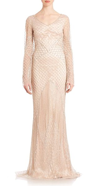 RANDI RAHM Joan crystal-net gown - Slim, crystal-net gown cut with long sleeves.V-neck....