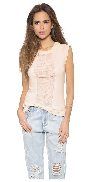 RAQUEL ALLEGRA Combo fitted tee - A panel of delicate, shredded gauze accents the front of...