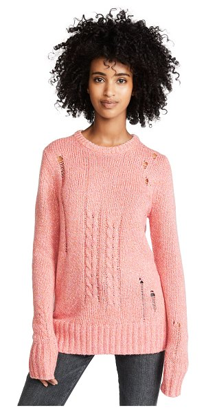 Raquel Allegra crew neck sweater in pink fleck - Fabric: Marled knit Oversized fit Distressed Pullover...