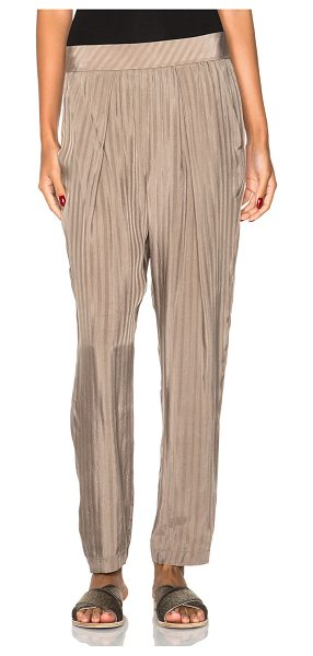 Raquel Allegra Easy pants in neutrals,stripes - 100% cupro.  Made in China.  Elastic waist.  Side slit pockets.