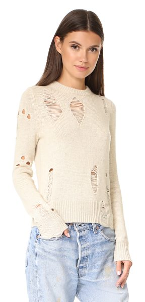 Raquel Allegra fitted cashmere crew in oatmeal - Drop-stitch holes lend a grunge feel to this cashmere...