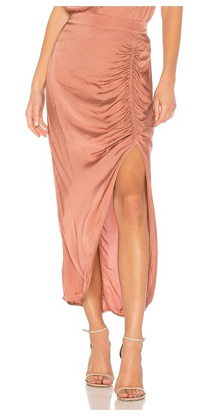 "Raquel Allegra Gathered Slit Skirt in pink - ""54% viscose 46% cotton. Hand wash cold. Elasticized..."