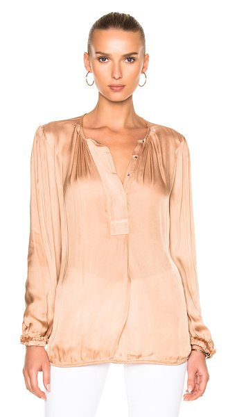 Raquel Allegra Liquid Satin Ribbon Placket Blouse in copper - 54% viscose 46% cotton. Made in USA. Dry clean only....