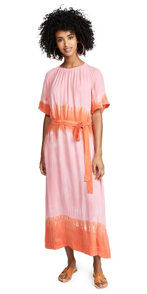 Raquel Allegra reversible flutter sleeve dress in pink grapefruit - Fabric: Lightweight silk Gradient tie-dye print Tie at...