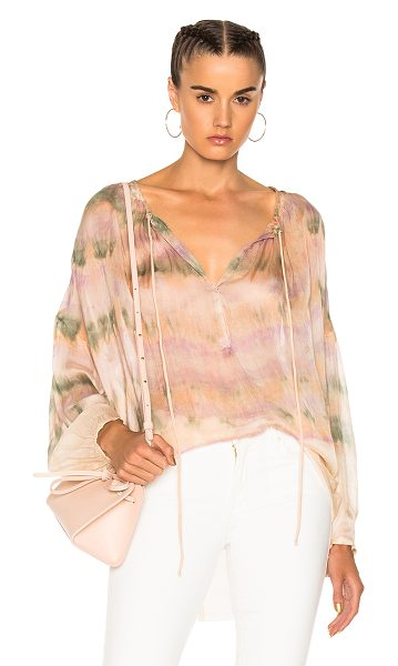 Raquel Allegra Shirred Blouse in ombre & tie dye,pink,purple - 100% silk.  Made in USA.  Hand wash.  Keyhole front with...