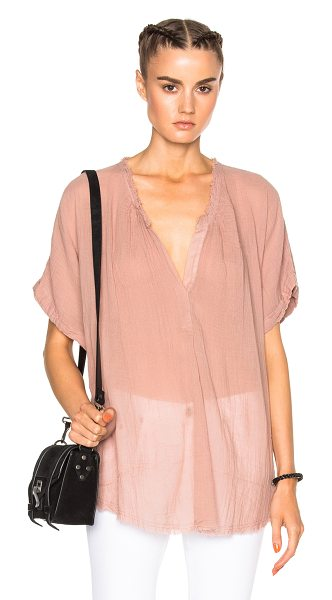 Raquel Allegra Short Sleeve Henley Top in pink - 100% cotton.  Made in USA.  Hand wash.  Sheer fabric. ...
