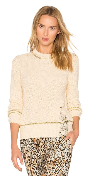Raquel Allegra Shred Sweater in beige - 100% cotton. Dry clean only. Knit fabric. Distressed...