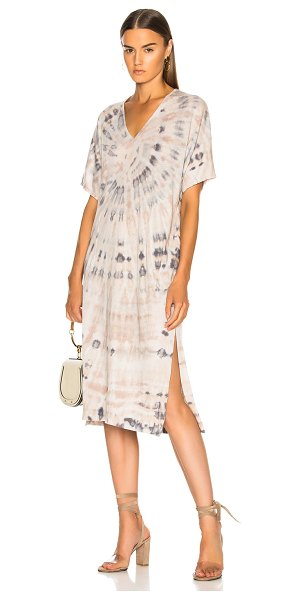 Raquel Allegra V Neck Boxy Dress in nude - 50% cotton 50% poly.  Made in USA.  Hand wash.  Unlined....