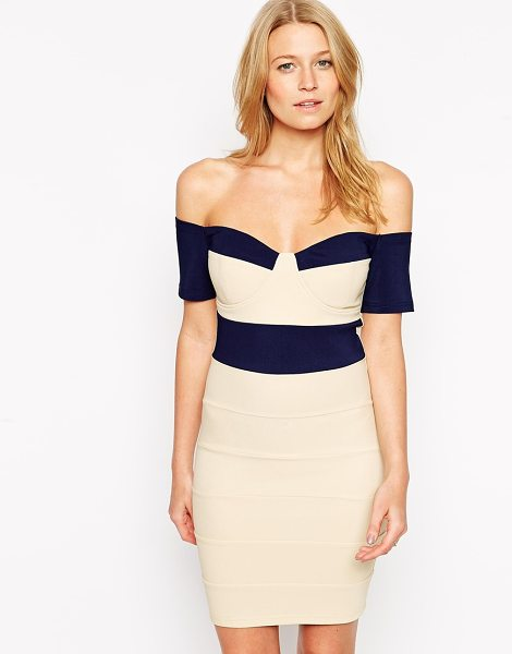 Rare Bardot bandage dress with contrast panels in navycream - Evening dress by Rare Lightly textured fabric Light cup...