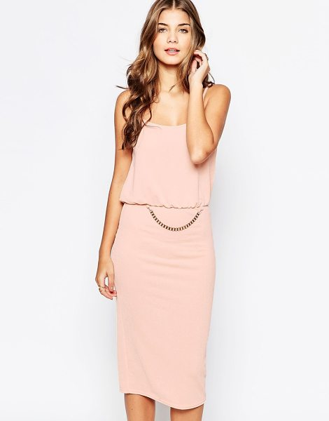 Rare Chain detail midi dress in nude - Midi dress by Rare Textured stretch fabric Scoop...