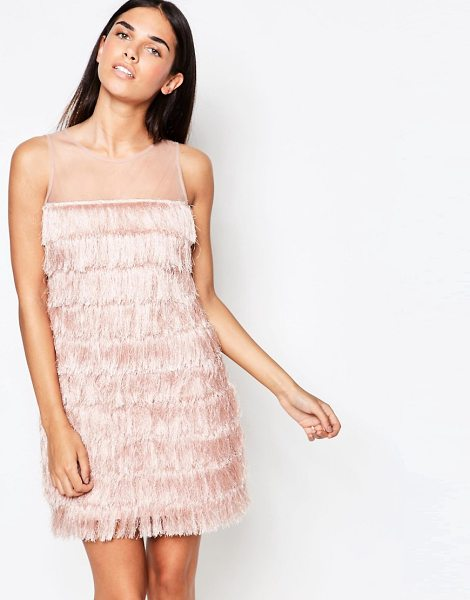 Rare Fringed Shift Dress in pink - Dress by Rare, Smooth fabric, Round neckline, Sheer mesh...