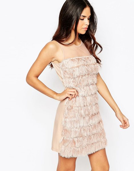 Rare Fringed Shift Dress in pink - Dress by Rare, Sheer mesh, Round neckline, Fringe...