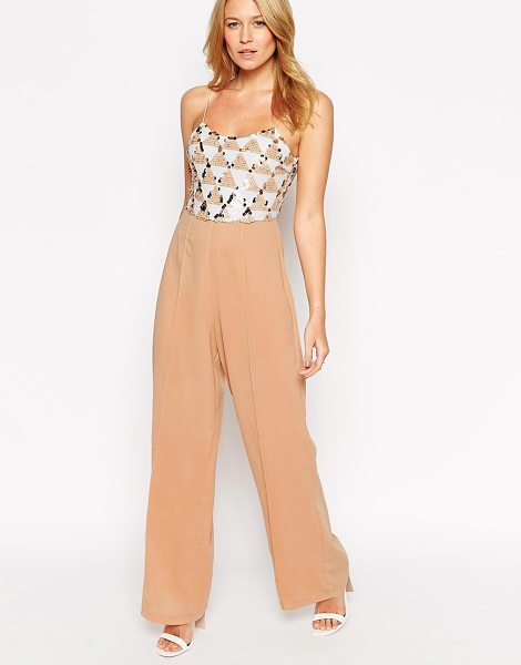RARE Jumpsuit with sequin top in nude - Jumpsuit by Rare Lined woven fabric Sequinned mesh top...