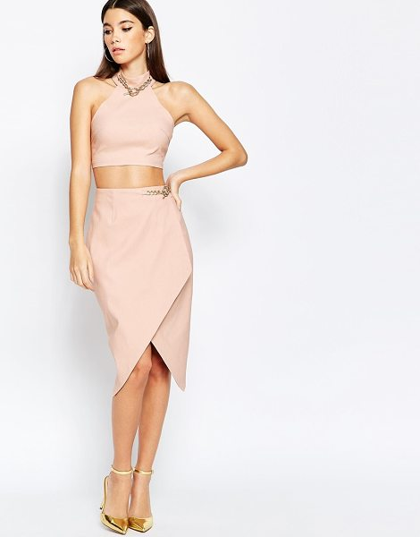RARE London Asymmetric Midi Skirt With Chain Detail - Midi skirt by Rare, Smooth stretch fabric, Wrap design,...