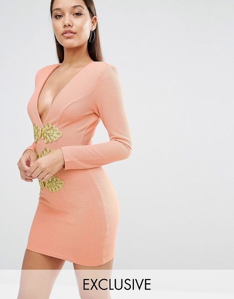 Rare London Bodycon Dress With Gold Trim in pink - Body-Conscious dress by Rare, Woven fabric, Added...