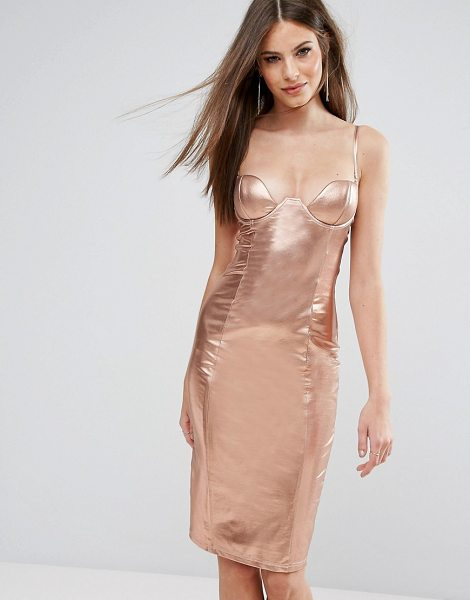 Rare london high neck plunge midi dress in rosegold - Midi dress by Rare, High-shine fabric, Plunge neck,...
