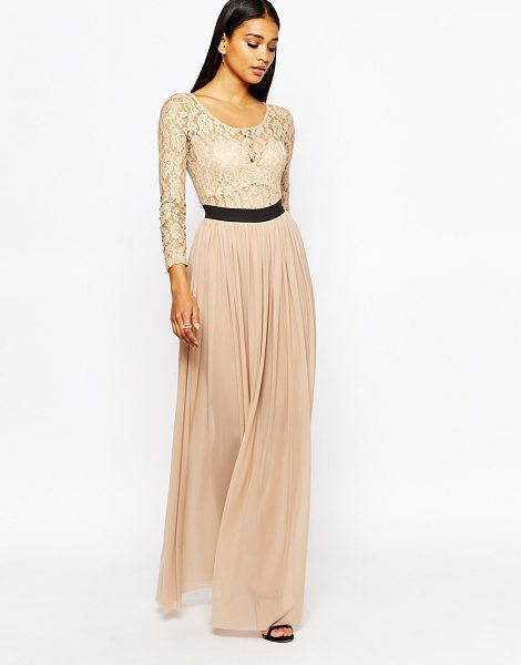Rare London Lace Maxi Dress With Contrast in pink