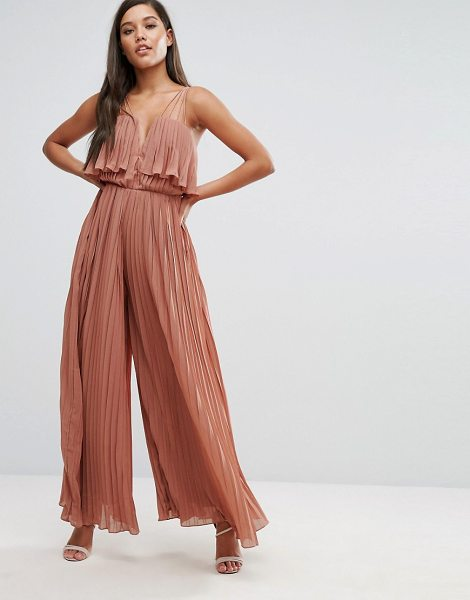 Rare London Pleated Jumpsuit in pink - Jumpsuit by Rare, Pleated fabric, Notch front,...