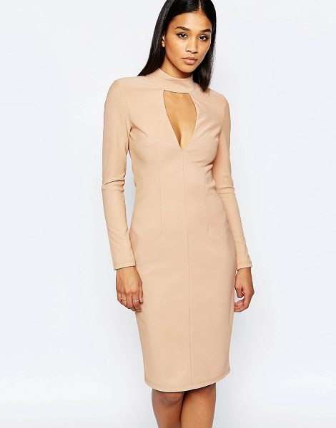 Rare London Plunge High Neck Bodycon Dress in pink - Body-Conscious dress by Rare, Stretch fabric, Fully...