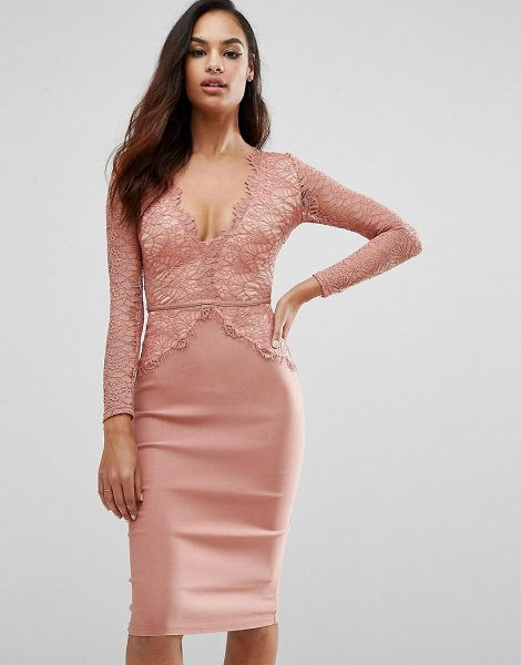 RARE London Plunge Scallop Lace Midi Dress - Midi dress by Rare, Lightweight lined lace top, Deep...