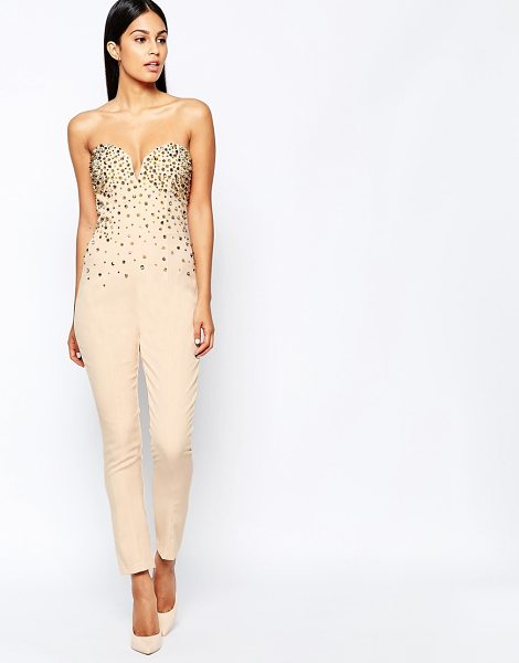 Rare Opulence Jewel bustier jumpsuit in cream - Jumpsuit by Rare Opulence, Woven fabric, Plunge...