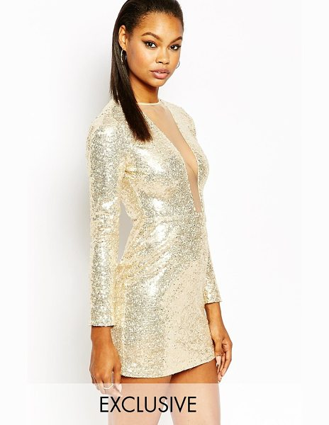 RARE London plunge neck long sleeve body-conscious dress in all over s - Evening dress by Rare, Sequin embellished fabric, Round...