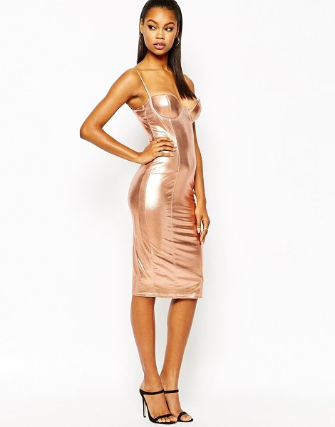 Rare London plunge pencil dress in high shine in copper shine - Pencil dress by Rare Smooth knitted fabric Metallic,...