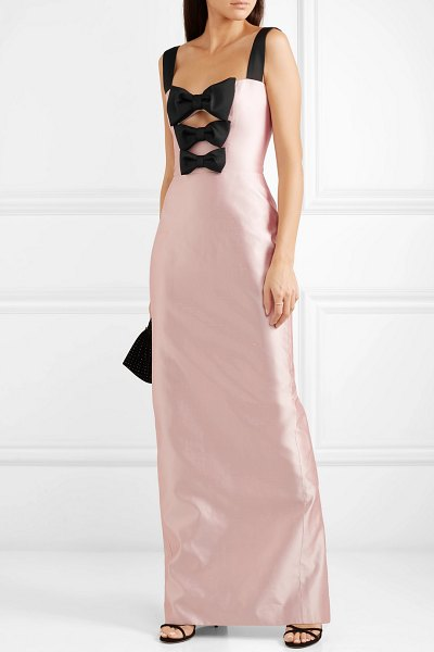 Rasario bow-embellished silk-shantung gown in pastel pink
