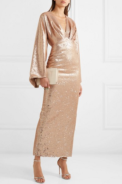Rasario sequined crepe gown in neutral