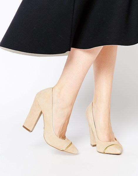 Ravel Block heeled pumps in beige - Shoes by Ravel, Suede upper, Slip-on design, Gold-tone...