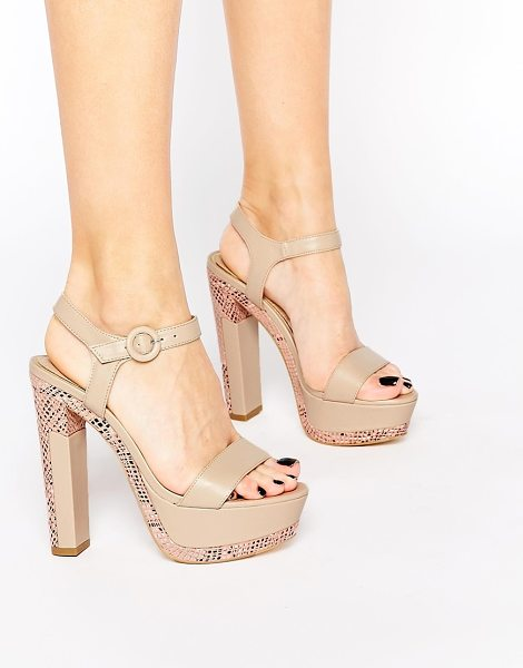 Ravel Platform heeled sandals in nudesnake - Shoes by Ravel Patent leather-look upper Pin buckle...