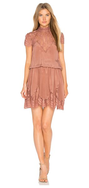 RAVN Nela Dress in rose - Poly blend. Hand wash cold. Unlined. Sheer lace yoke and...
