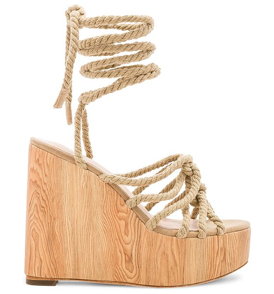 """RAYE Alaya Wedge in tan - """"Textile upper with leather sole. Braided front. Wrap..."""