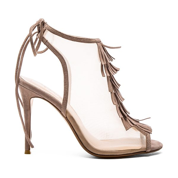RAYE Bailey heel in taupe - Mesh upper with man made sole. Suede fringe accent. Back...