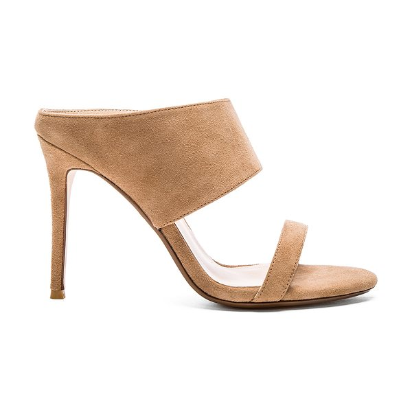 "RAYE Bea mule in tan - Suede upper with man made sole. Heel measures approx 4""""..."
