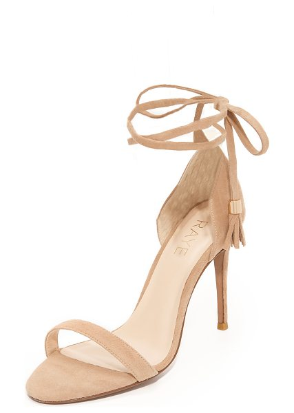 RAYE bennie sandals in tan - Streamlined Raye sandals cut from velvety suede. Tassels...