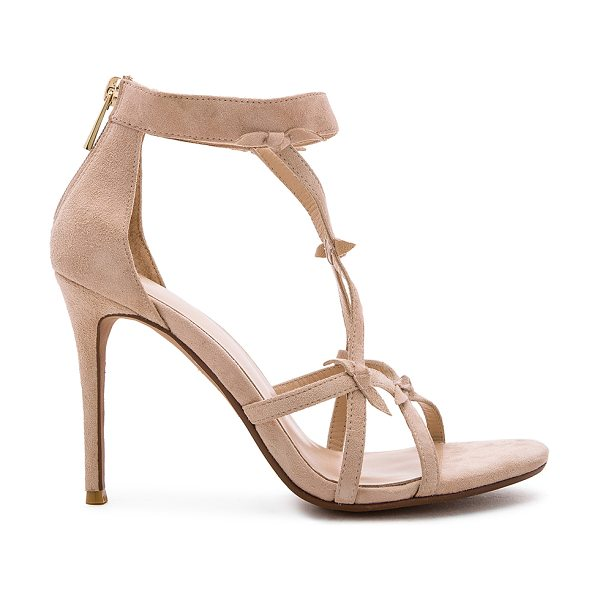 RAYE Blossom Heel in beige - Suede upper with man made sole. Back zip closure. Front...