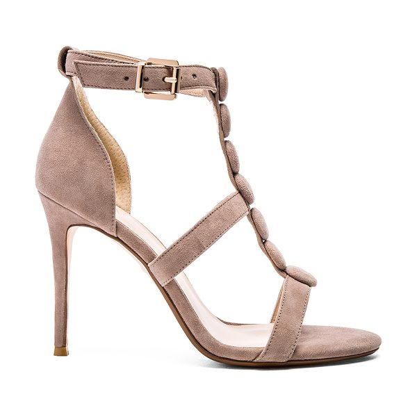 RAYE Bobbie heel in taupe - Suede upper with man made sole. Covered button accents....