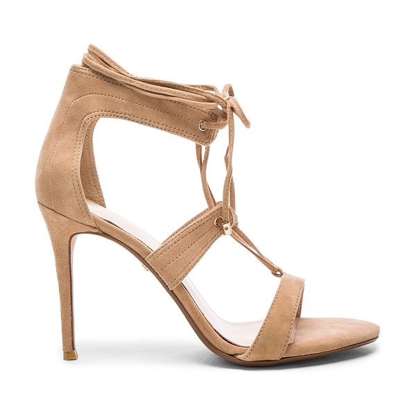 RAYE Byron heel in beige - Suede upper with man made sole. Lace-up front with wrap...