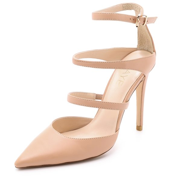 RAYE Carrie strappy pumps in nude - Slim straps and a pointed toe bring classic, feminine...