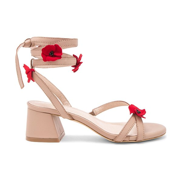 "RAYE Cassia Sandal in taupe - ""Prim petals grace the strappy shape of RAYE's Cassia..."